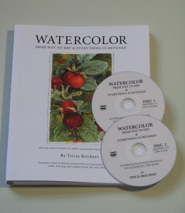 Watercolor book front page with videos